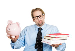 Man holding piggy bank and books. Cost, value of education