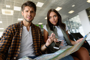 Man and woman choosing place of destination